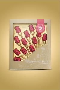 caixa de chocolate rosas ao leite