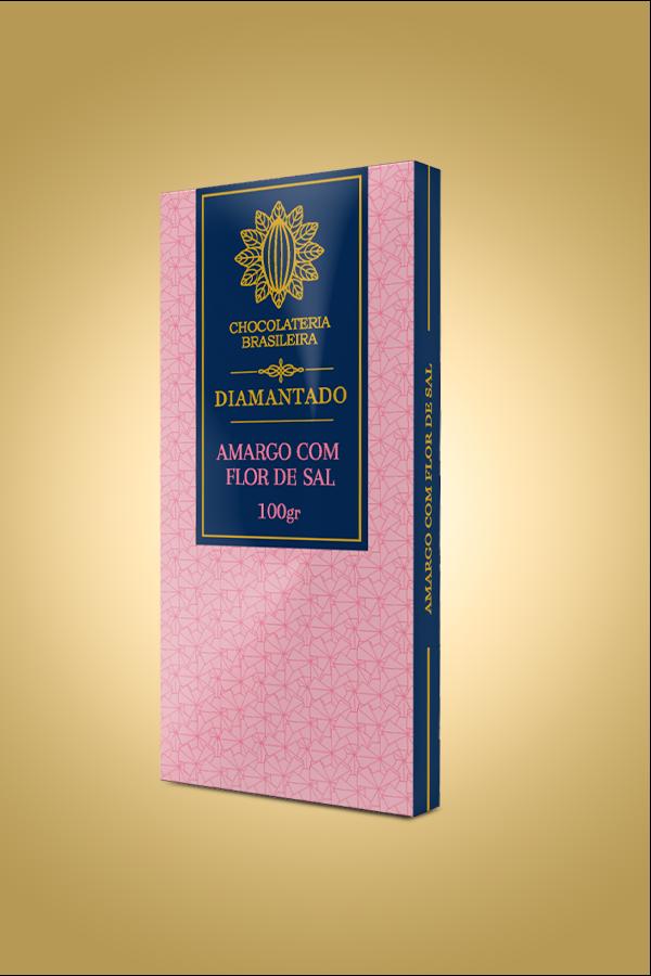 barra de chocolate amargo com flor de sal - diamantado