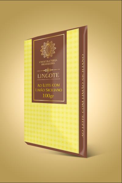barra de chocolate ao leite com limão siciliano - lingote
