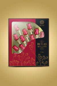 caixa de chocolate ao leite rosas