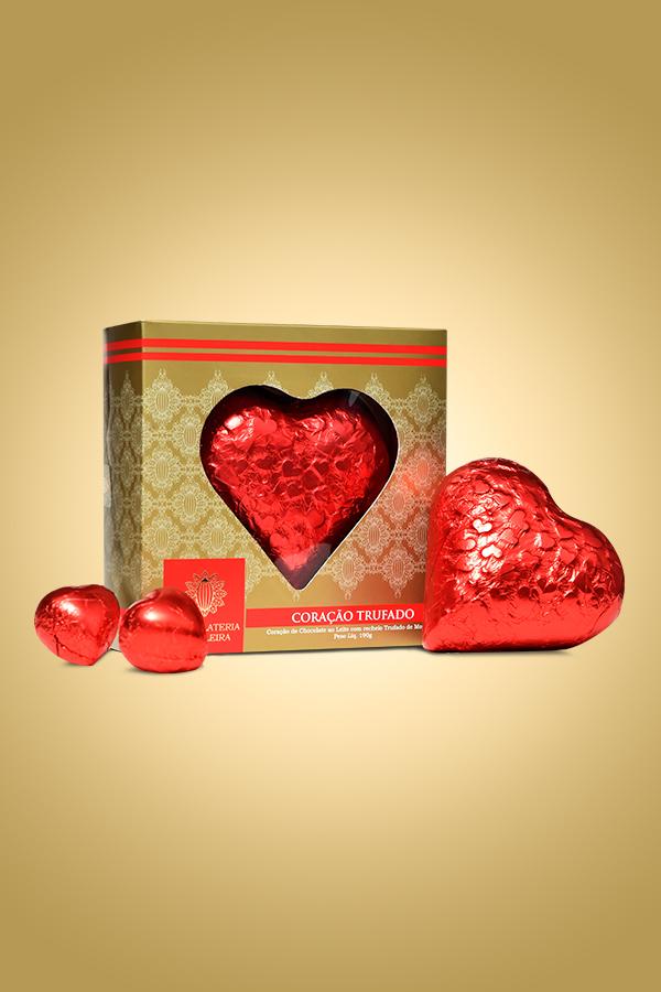 trufa de chocolate coração - Chocolateria Brasileira