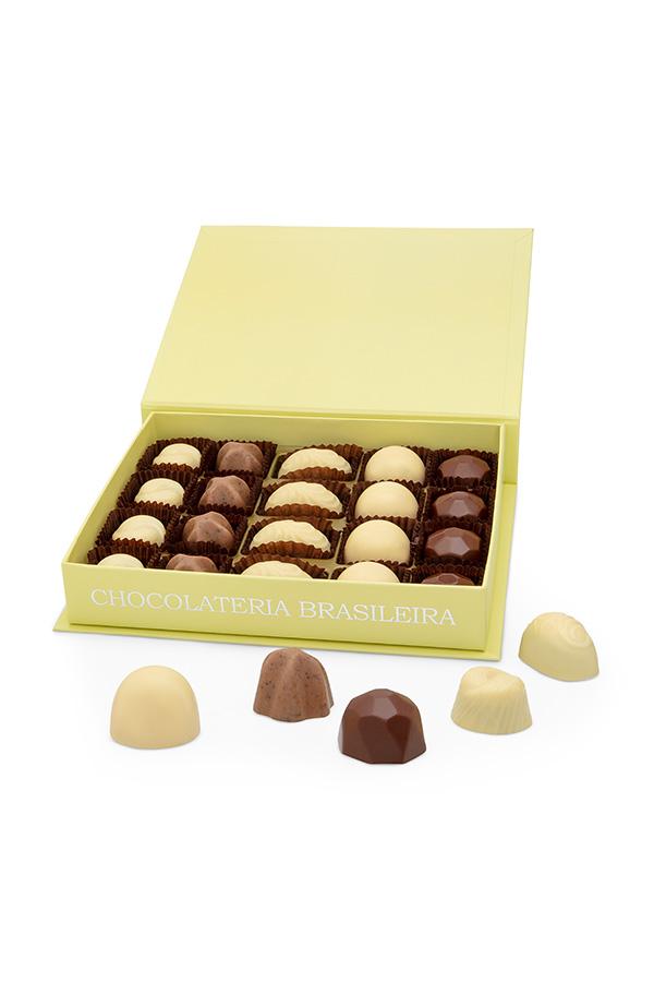 caixa de bombom de chocolate conceito suave - chocolateria brasileira