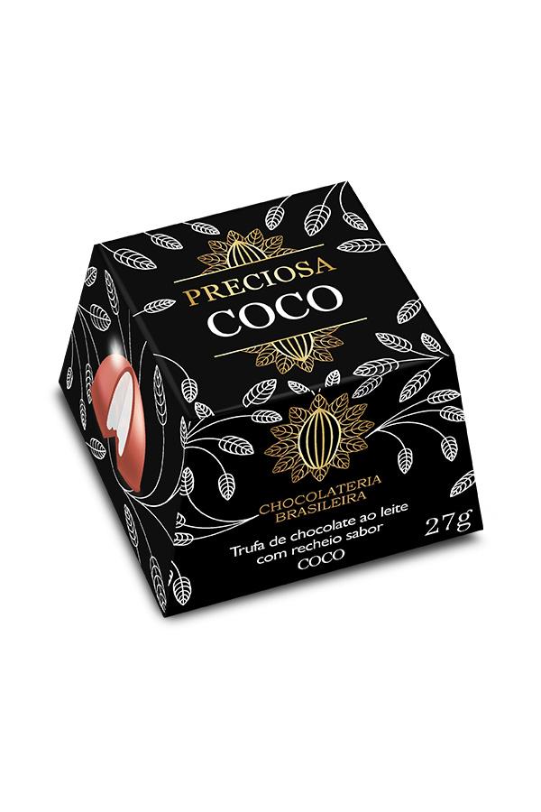 trufa de chocolate recheada sabor coco