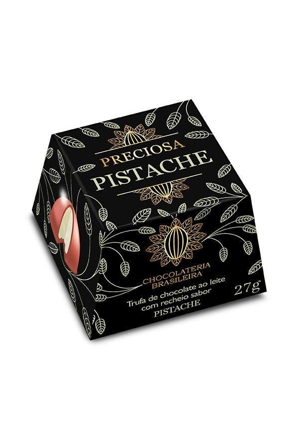 trufa de chocolate recheada de pistache - chocolateria brasileira