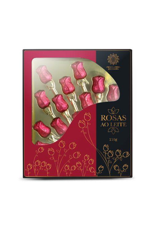 rosas de chocolate ao leite - chocolateria brasileira