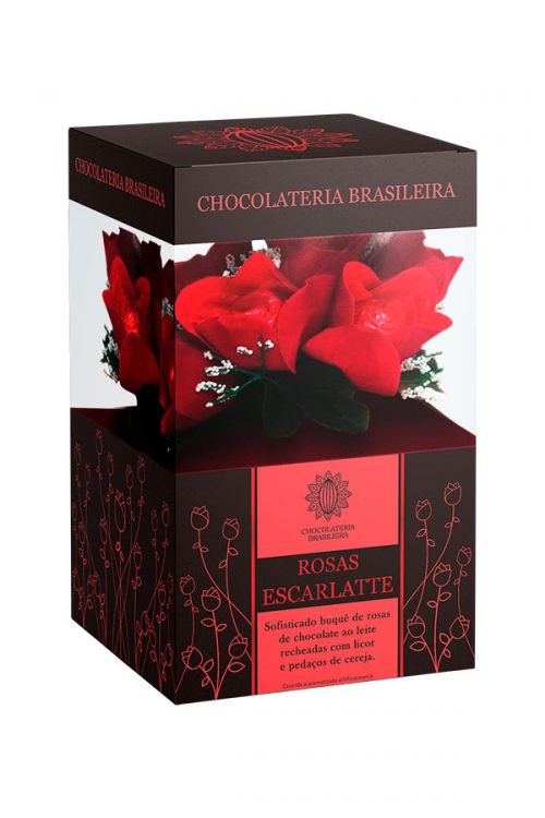 caixa de bombons de chocolate em formato de rosas e recheado com cereja