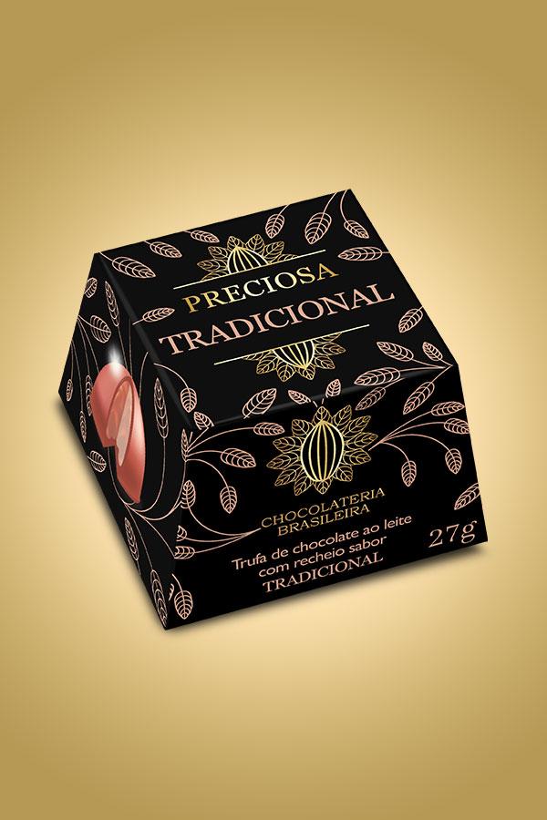 Trufa de chocolate ao leite tradicional - Chocolateria Brasileira